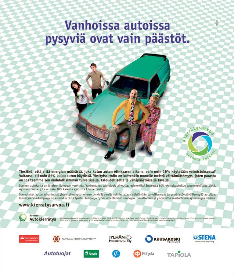 Suomen Autokierrätys. Vanhoissa autoissa pysyviä ovat vain päästöt.