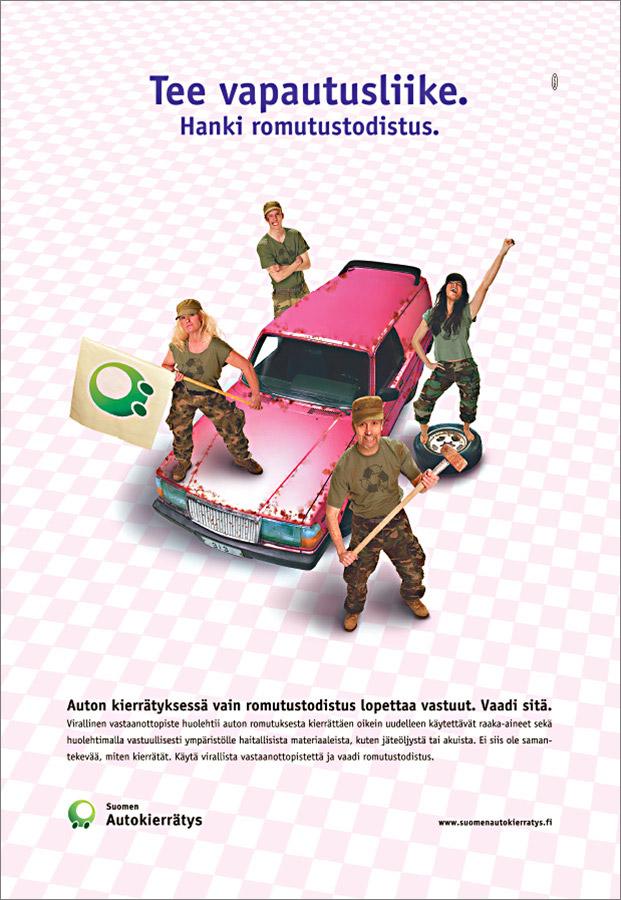 Suomen Autokierrätys, IS-lehtimainos.