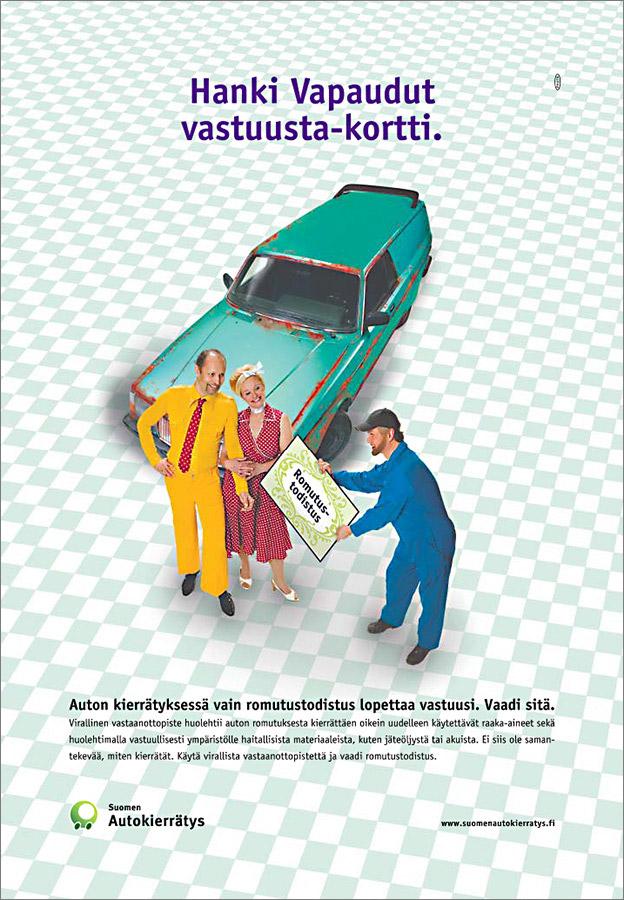 Suomen Autokierrätys, lehtimainos.
